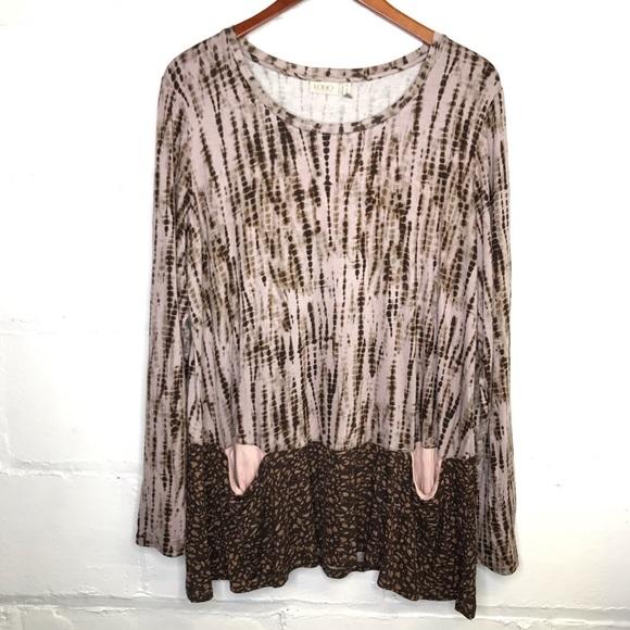 LOGO Lori Goldstein Tie Dye Knit Tunic Front Pockets Scoop Neck Pullover